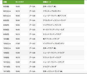 ラグビーワールドカップ ライブ配信番組表