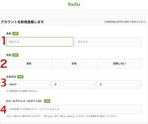Huluへの登録 個人情報入力画面
