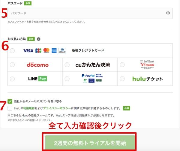 Huluへの登録方法 個人情報入力画面